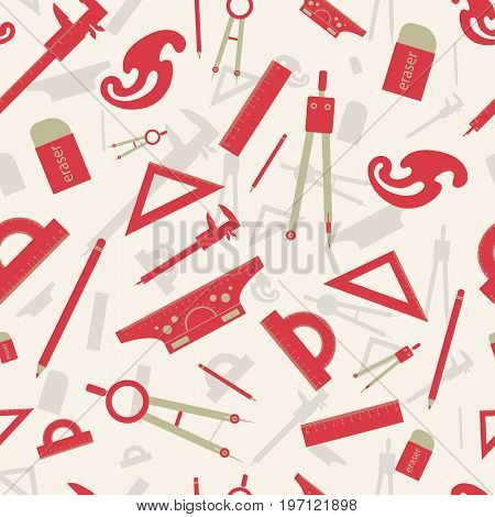 Red architectural seamless pattern with drawing instruments creative process of architectural design vector illustration