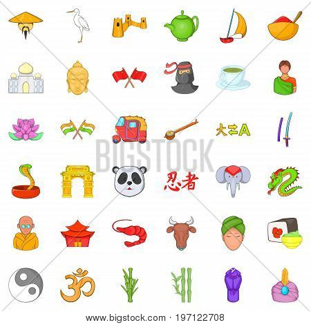 China and asia icons set. Cartoon style of 36 china and asia vector icons for web isolated on white background