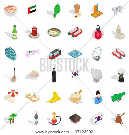 Asia icons set. Isometric style of 36 asia vector icons for web isolated on white background