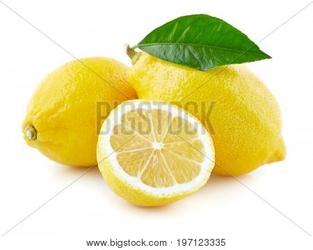 Lemons with leaf in closeup