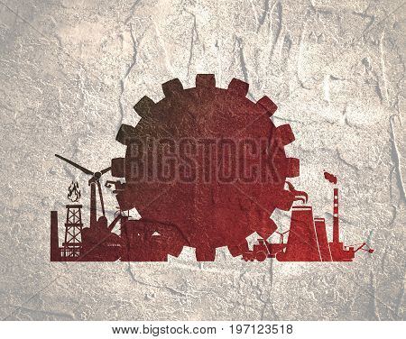 Energy and Power icons set. Sustainable energy generation and heavy industry.
