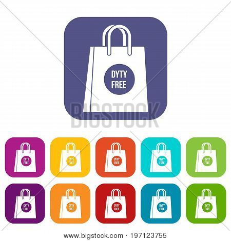 Duty free shopping bag icons set vector illustration in flat style in colors red, blue, green, and other