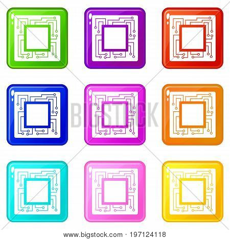 Microchip icons of 9 color set isolated vector illustration