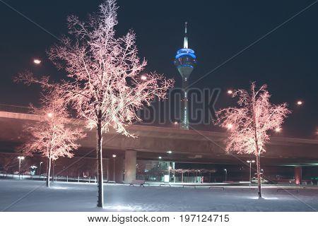 Wintry landscape near the rhine waterfront in Dusseldorf