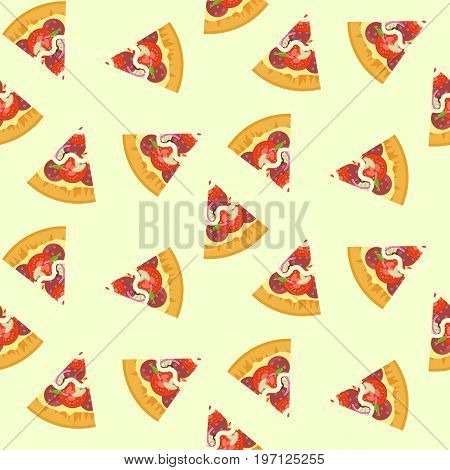 Delicious colorful sliced pizza with salami mushrooms tomato seamless pattern. Nice fastfood texture for textile wallpaper background cover banner bar and cafe menu design