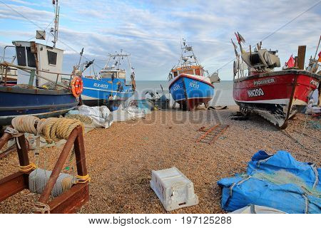 HASTINGS, UK - JULY 21, 2017: Beach launched colorful fishing boats