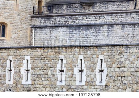 LONDON UNITED KINGDOM - JUNE 22 2017: Tower of London medieval defense building London United Kingdom. The castle was used as a prison from 1100 until 1952