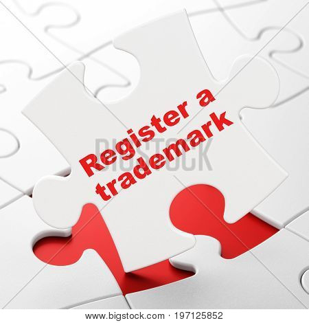 Law concept: Register A Trademark on White puzzle pieces background, 3D rendering