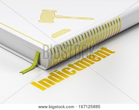 Law concept: closed book with Gold Gavel icon and text Indictment on floor, white background, 3D rendering