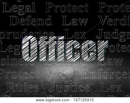 Law concept: Glowing text Officer in grunge dark room with Dirty Floor, black background with  Tag Cloud