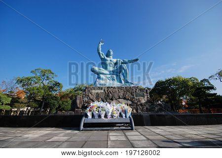 the peace statue in Nagasaki peace park in Nagasaki Japan in November 2014