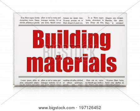 Building construction concept: newspaper headline Building Materials on White background, 3D rendering