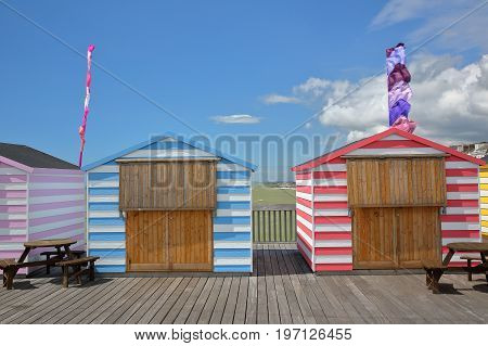 Colorful huts on the Pier (rebuilt and open to public in 2016) in Hastings, UK