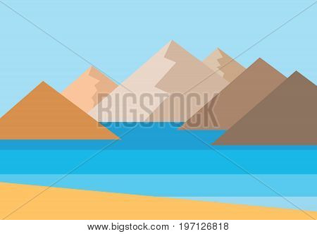 Vector panorama of the mountains by the sea