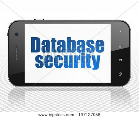 Software concept: Smartphone with blue text Database Security on display, 3D rendering