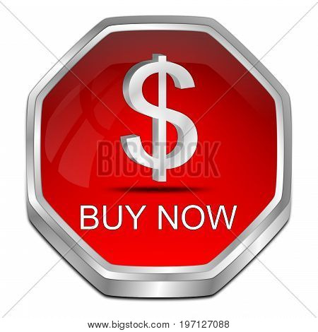 red Buy now Button - 3D illustration