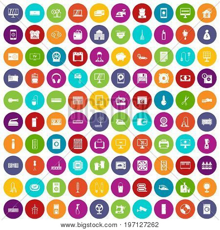 100 appliances icons set in different colors circle isolated vector illustration