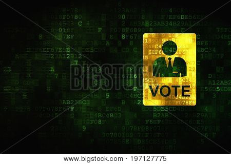 Politics concept: pixelated Ballot icon on digital background, empty copyspace for card, text, advertising