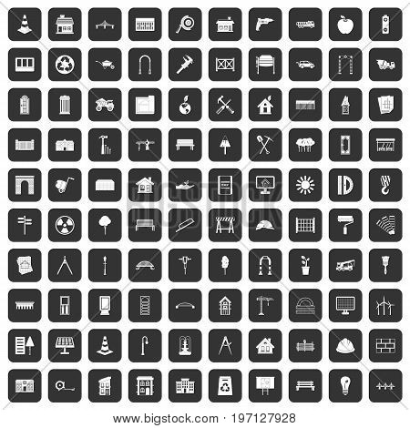 100 architecture icons set in black color isolated vector illustration