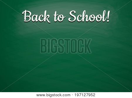 Back to school vector background with green chalkboard