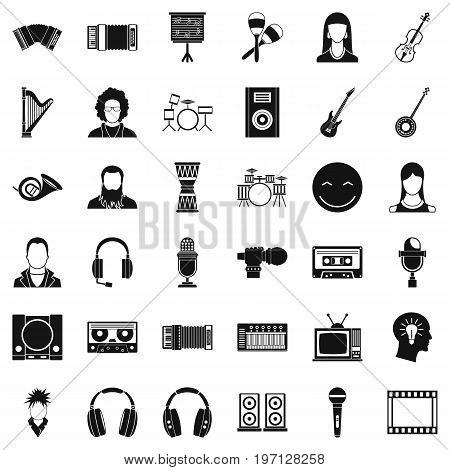 Musician icons set. Simple style of 36 musician vector icons for web isolated on white background