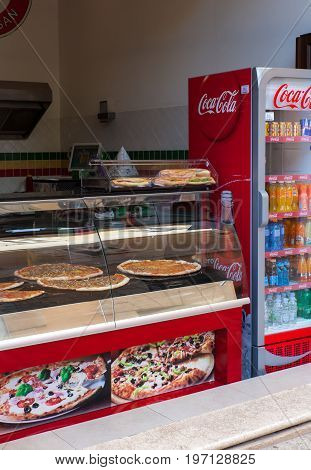 POREC CROATIA - JULY 14: View of typical fast food pizzeria in the street on July 14 2017