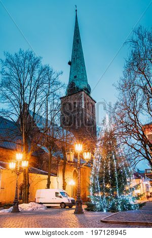 Riga, Latvia. Cathedral Basilica Of St. James And Holiday Xmas Christmas Tree At Evening In Night Illuminations Lights. Church Is Wrongly Called St. Jacob's. UNESCO World Heritage Site