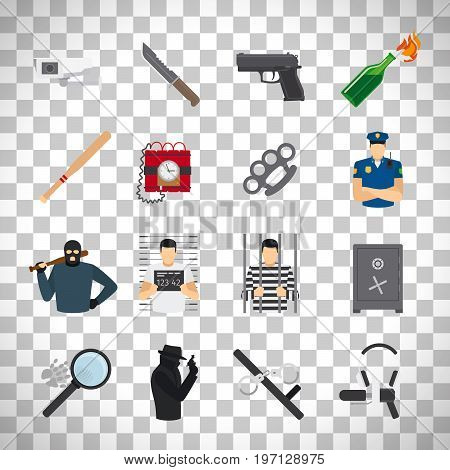 Crime flat icons set isolated on transparent background. vector illustration