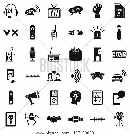 Audio icons set. Simple style of 36 audio vector icons for web isolated on white background