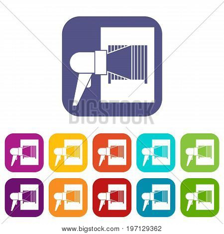 Bar code on cargo icons set vector illustration in flat style in colors red, blue, green, and other