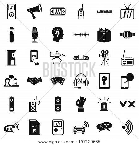 Stereo icons set. Simple style of 36 stereo vector icons for web isolated on white background
