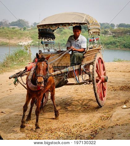 Horse Cart At Innwa Town In Mandalay, Myanmar