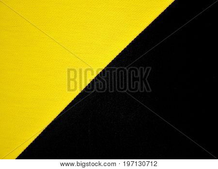 Yellow And Black Natural Linen Fabric Texture Background.