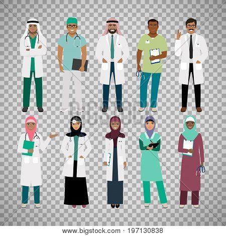 Muslims healthcare staff. Standing arab muslim physician doctor and arabian nurse vector isolated on transparent background