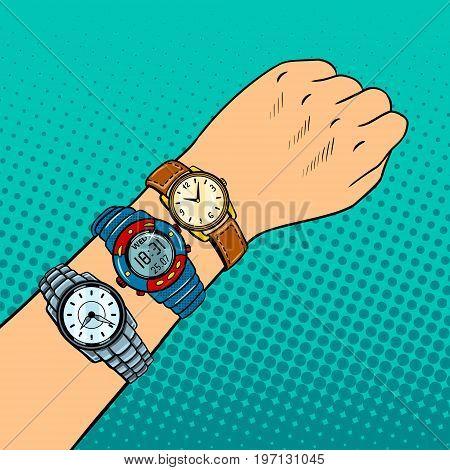 Wristwatch on hand pop art retro vector illustration. Comic book style imitation. Timezone metaphor.