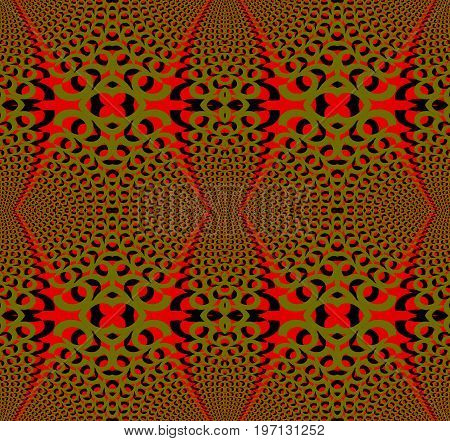 Abstract geometric seamless background. Regular ellipses pattern red, olive green and black dimensional.