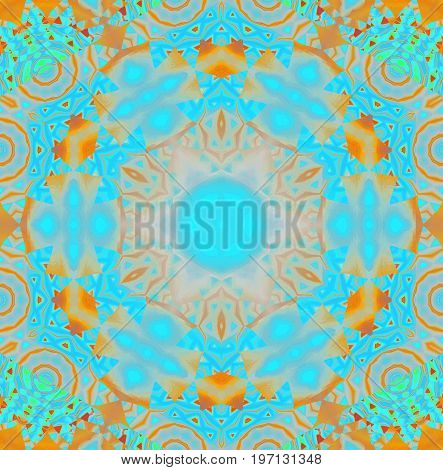 Abstract geometric background. Regular round intricate ornament turquoise blue, orange, pink and ocher.