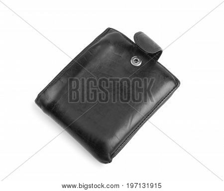 Men's closed leather black wallet, isolated on a white background. The saturated black purse with a lot of money. The modern leather black wallet with cash.