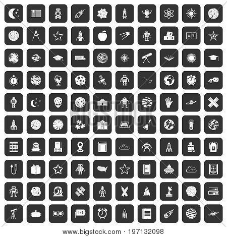 100 astronomy icons set in black color isolated vector illustration
