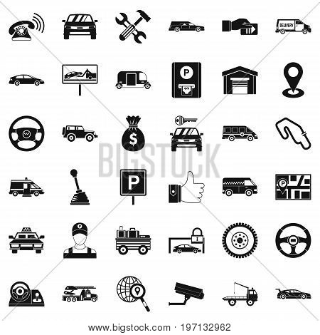 Auto rental icons set. Simple style of 36 auto rental vector icons for web isolated on white background