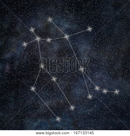 Gemini Constellation. Zodiac Sign Gemini Constellation Lines Galaxy Background