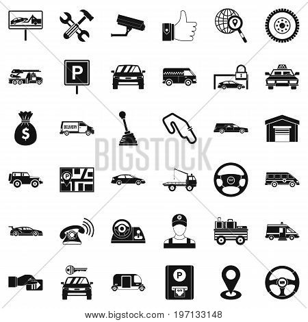 Automobile icons set. Simple style of 36 automobile vector icons for web isolated on white background