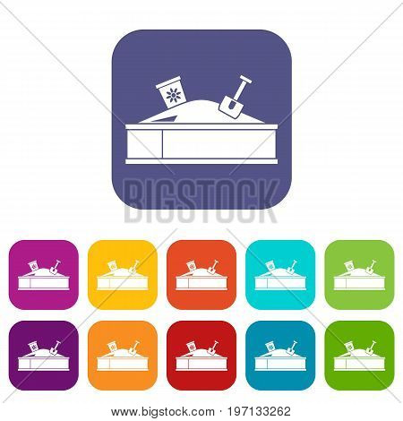 Sandbox with bucket and shovel icons set vector illustration in flat style in colors red, blue, green, and other