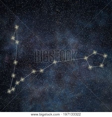 Pisces Constellation. Zodiac Sign Pisces Constellation Lines Galaxy Background