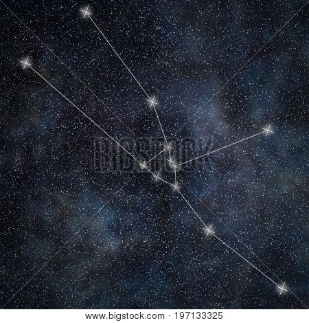 Taurus Constellation. Zodiac Sign Taurus Constellation Lines  Galaxy Background