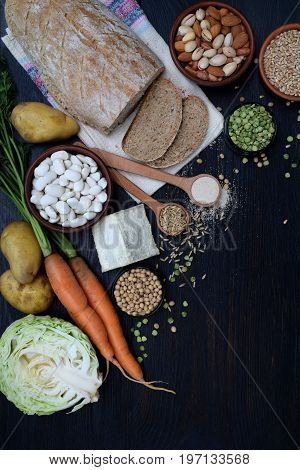Composition Of Products Containing Thiamine, Aneurin, Vitamin B1 - Whole Grain Bread, Cereals, Veget