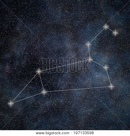 Leo Constellation. Zodiac Sign Leo Constellation Lines Galaxy Background