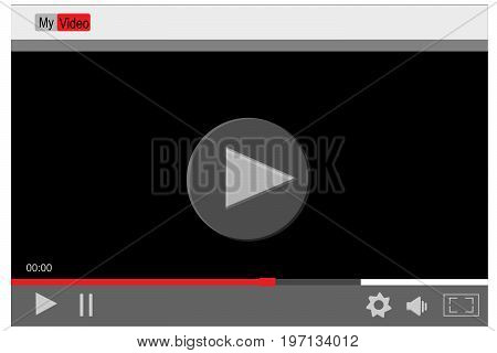 Video player template for web and mobile apps. video player background. Vector illustration