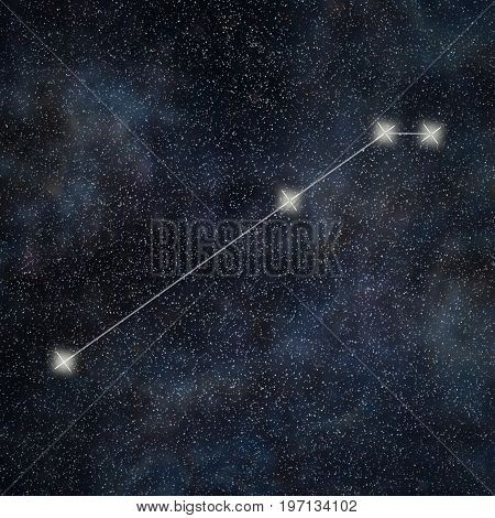 Aries Constellation. Zodiac Sign Aries Constellation Lines Galaxy Background