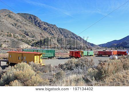 Caboose Village train cars in the mountains of Utah